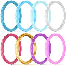 ThunderFit Thin and Stackable Silicone Rings, 8 Rings / 4 Rings / 1 Ring - Silicone Wedding Bands for Women - Diamond Pattern - Width - Thickness
