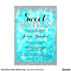 Teal Silver Faux Glitter Lights Sweet 16 Birthday Card Celebrate in style with this modern sweet 16 invitation, featuring a teal blue sparkle lights background with a faux silver glitter border. Designs are flat printed illustrations/graphics - NOT ACTUAL SILVER GLITTER.