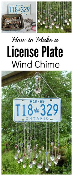 Make a fun license plate wind chime with souvenir spoons as the tinkling chimes / thriftyrebelvintage.com
