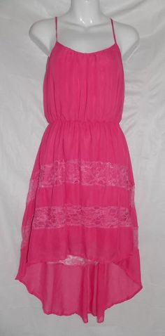 High Low Dress Pink Lace Sheer Charming Charlie Women's Size Small #CharmingCharlie #Dress #CasualFestive