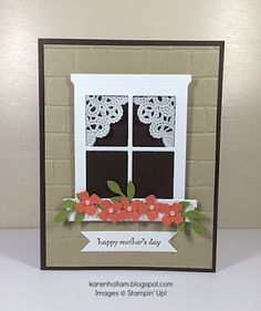 Stamp: Teen Tiny Wishes CS: Early Espresso, Crumb Cake, Calypso Coral, Old Oive Ink: Early Espresso Misc: Brick Wall Embossing Folder, Hearth and Home Framelits, Itty Bitty Accents Punch Pack, Bird Builder Punch, Bitty Banners Framelits