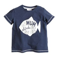 T-shirt with Print, Blue, Tops, Kids | Lindex