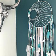 DreamCatcher catcher dreams weaving Sun, turquoise, duck, grey and white giant Diy Dream Catcher For Kids, Turquoise, Wooden Beads, Grey And White, Solid Wood, Weaving, Beautiful, Etsy, Mandalas
