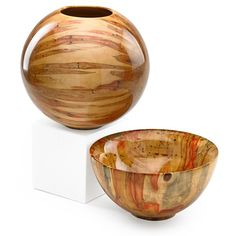 "PHILIP MOULTHROP (b. 1947) Two turned turned wood vessels, ""Ashleaf Maple,"" Atlanta, GA; Both signed PCM PHILIP MOULTHROP ASHLEAF MAPLE Acer negundo, bowl 728-070, vessel numbered 8201; 8 1/2"" x 8 1/2"", bowl: 4 1/2"" x 8 1/2"""