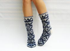 9.5 10.5 41 43 Hand knit thick toasty wool socks to by WoolSpace