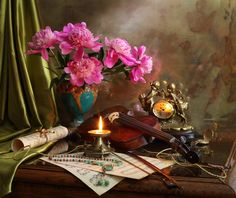 Still life with violin and flowers - 2 - null