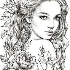 Coloring pages Coloring books Digital Stamps. by MariolaBudekArt Printable Adult Coloring Pages, Coloring Pages To Print, Coloring Book Pages, Fairy Coloring, Digital Stamps, Digital Art, Art Sketchbook, Sketches, Portraits