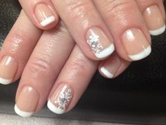 Gelish French with snowflake nail art