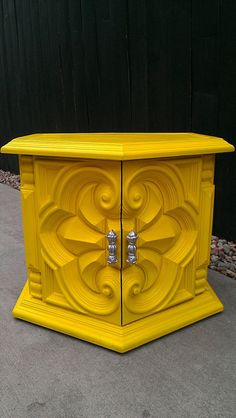 Funky and Bold Yellow Side Table by JunqueFurniture on Etsy, $165.00