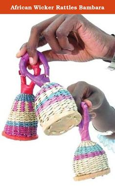 African Wicker Rattles Bambara. Straw Baby Rattles, bambara, are used as a musical instrument in western culture as well as Africa. And these rattles make a great gift for anyone with a small child. They are totally handmade, multi-colored, and great for decoration as well as gifts. Each rattle is hand made and will show variation from the photo, which shows some typical bambara. Each rattle is approximately 5 inches tall. Made in Mali. Price is for 1 bambera.
