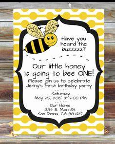 Printable Custom Bee Theme First Birthday Invitation - 1st Birthday Boy Girl Invitation - Boy or Girl Bee Theme Birthday Party Invitation by ViaBarrett on Etsy