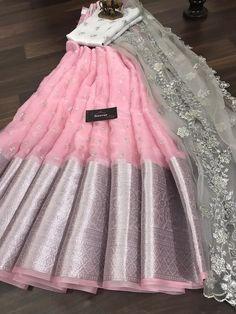 Lehenga Saree Design, Half Saree Lehenga, Lehnga Dress, Lehenga Designs, Saree Blouse Designs, Lehanga Saree, Set Saree, Indian Fashion Dresses, Indian Gowns Dresses