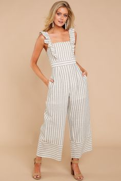 For The Love Of Stripes Grey Striped Jumpsuit Jumper Outfit Jumpsuits, Jumpsuit Outfit, Casual Jumpsuit, Striped Jumpsuit, Summer Jumpsuit, Casual Dresses, Casual Outfits, Fashion Outfits, Jumpsuit Pattern
