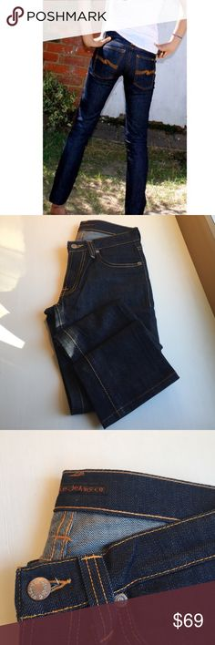 Nudie jeans Super Slim Kim denim Nudie jeans Super Slim Kim skinny dry selvage denim - if familiar w/ the brand you wear for 6-8 mos w/out washing - and then after that first wash you have a pair of perfectly distressed denim tailored just to you! This pair has never been worn! Nudie Jeans Jeans Skinny