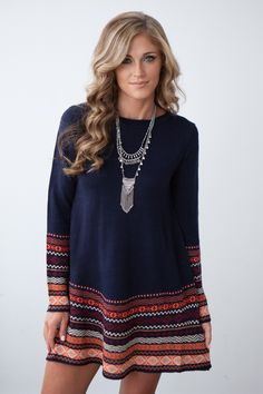 Icelandic Long Sleeve Sweater Dress - Navy/Multi