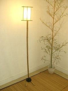 Picture of bamboo floor lamp Bamboo Planter, Bamboo Lamp, Bamboo Fence, Bamboo Floor, Natural Floor Lamps, Diy Floor Lamp, Bamboo Crafts, Bamboo Design, Diy Coffee Table