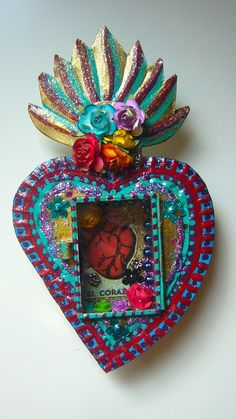 Mexican sacred heart tin nicho with El Corazon