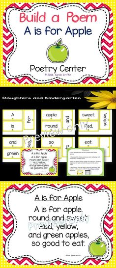 Build a poem interactive activity. A is for Apple is a fun Fall center for kids. PreK, Kindergarten, and 1st graders,  (early readers) will use the word cards to build the poem.  Perfect poetry pocket chart center, take-home activity, ELA station, and shared reading.     Sarah Griffin, Daughters and Kindergarten http://www.teacherspayteachers.com/Store/Sarah-Griffin