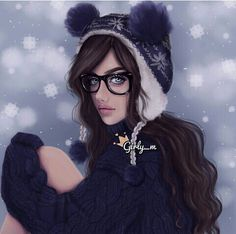 art, girly m, cute, fashion, draw, drawing, girl, glasses