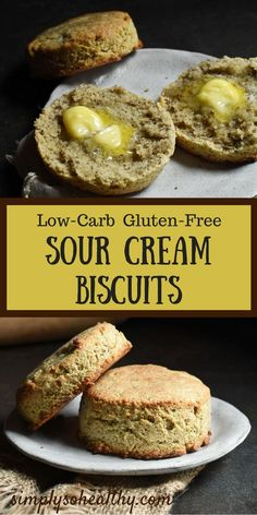 These Low-Carb Sour Cream Biscuits are the best! Even better they can be part of a low-carb ketogenic LC/HF Atkins gluten-free grain-free and Banting diets. Healthy Low Carb Recipes, Low Carb Dinner Recipes, Keto Foods, Diet Recipes, Keto Meal, Cream Recipes, Shake Recipes, Keto Dinner, Healthy Habits