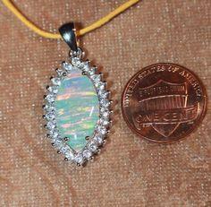 fire opal Cz necklace pendant gemstone silver jewelry elegant cocktail style Z2 #Pendant