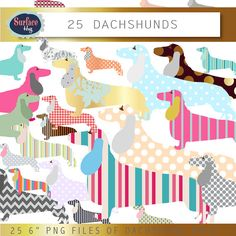Dog clip art DACHSHUND clipart Dog clipart Pet by SurfaceHug, $4.00