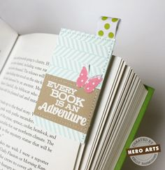 Corner Bookmark with Ribbon Accent cardstock 4 x 3.25 folded in half, sew on top and right side