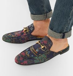 Shop men's loafers at MR PORTER, the men's style destination. Men's Slippers, Backless Loafers, Frock For Women, Fashion Shoes, Mens Fashion, Driving Moccasins, Gucci Men, Footwear, Street Style