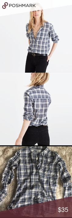 Madewell SLIM Ex boyfriend shirt Brand new w tag. A lean, long take on our signature tomboy button-down in plaid flannel, this one is ready for layering. Ex-boyfriend shirt, next-boyfriend attitude. Color: Coltrane plaid Madewell Tops Button Down Shirts