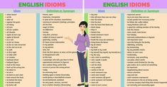 English idioms are a group of words which have a meaning which isn't obvious from looking at the individual words. In this lesson, you will learn commonly used idioms in English. Common English Idioms, English Verbs, Learn English Grammar, English Sentences, English Writing Skills, English Vocabulary Words, English Phrases, Learn English Words, Learning English