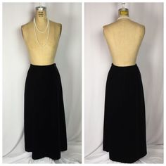 Talbots Black Velvet Long Maxi Skirt Size 8 10 | eBay