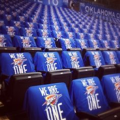 My daughter took this picture before the OKC Thunder playoff game. Everyone wore the shirts, our fans are the best! Thunder Strike, Thunder Nba, Nba Playoffs, Oklahoma City Thunder, Chesapeake Energy Arena, Everybody Else, Best Player, One Team