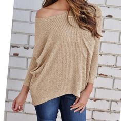 Off Shoulder Three Quarter Sleeve Batwing Knitted Sweater. In Khaki 6bdf2749c