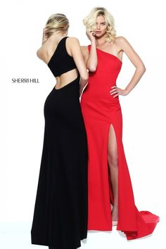 One-shoulder black and red Style 50861 evening dresses with cut-out backs and slits (Spring 2017 Collection by Sherri Hill)