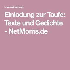Einladung zur Taufe: Texte und Gedichte - NetMoms.de