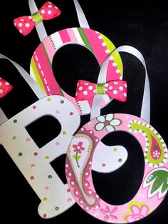 Custom Nursery Wall Letters  Pink and Green Paisley