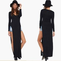 Find More Dresses Information about 2015 Women Black Long Sleeve Double Side Slit Party Maxi Dress T Shirt Casual Open Side Sexy Split Party Bodycon Long Dresses,High Quality Dresses from Attractive Women 1 on Aliexpress.com
