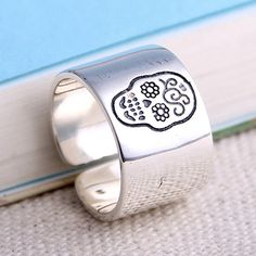 Women's Sterling Silver Sugar Skull Wrap Ring