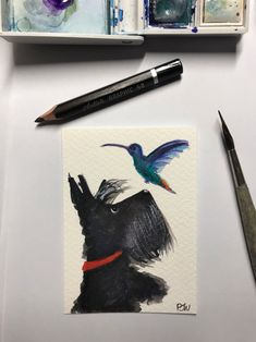 Excited to share this item from my #etsy shop: FREE SHIPPING ACEO Original Watercolour Painting Scottie Dog 'Hummingbird' Miniature Scottish Terrier #166