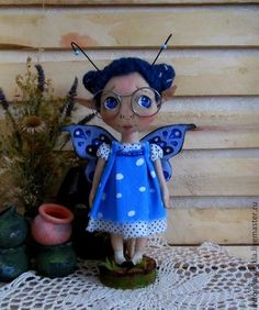 Коллекционные куклы ручной работы. Ярмарка Мастеров - ручная работа. Купить Бабочка в синем.. Handmade. Кукла ручной работы, синий