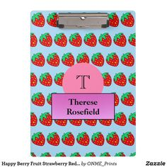 Happy Berry Fruit Strawberry Red Print Monogram Clipboard #Onmeprints #Zazzle #Zazzlemade #Zazzlestore #Zazzlestyle #Happy #Berry #Fruit #Strawberry #Red #Print #Monogram #Clipboard Fruit Print, Fruit Punch, Clipboard, Office Gifts, Party Hats, School Supplies, Strawberry, Monogram, Lettering