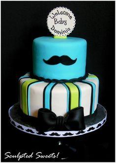 LATES BABY SHOWER CAKES | little man mustache baby shower cake by etta