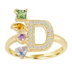 Initial Ring with Multi Colored Gemtones – Stephanie Gottlieb Fine Jewelry