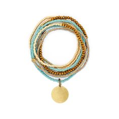 The Makery Heartstring long beaded necklace – Turquoise Necklace, Beaded Necklace, Heartstrings, Rainbow Colors, Seed Beads, Brass, Boho, Collection, Jewelry