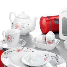 Yasemin 6 Kişilik 38 Parça Kırmızı Çiçekli Kahvaltı Takımı
