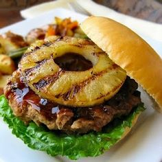 Teriyaki Turkey Burgers With Grilled Sesame Pineapple