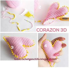How to make a crochet heart step by step Crochet Stitches, Knit Crochet, Crochet Patterns, Knitted Heart, Crochet Keychain, Knitting Designs, Free Pattern, Fabric, How To Make