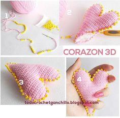 como hacer un corazon crochet paso a paso