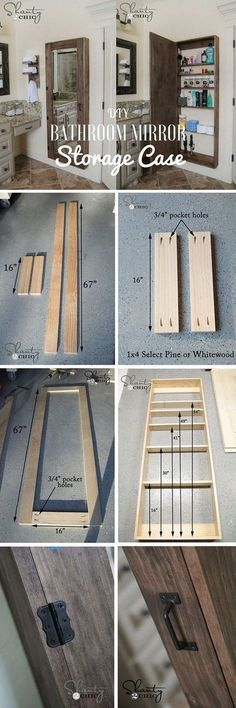 Rustic DIY Projects to add Warmth to your Farmhouse Decor DIY Bathroom Mirror Storage Case. What a creative and genius DIY project to add extra storage to small bathrooms! Both practical and decorative with rustic farmhouse stlyle! Bathroom Mirror Storage, Bathroom Ideas, Bathroom Closet, Bathroom Cabinets, Bathroom Modern, Mirror Shelves, Wooden Bathroom, Vanity Bathroom, Diy Vanity