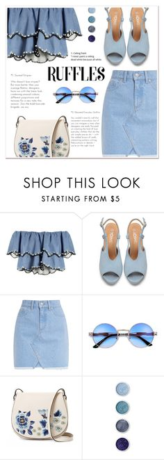 """""""Ruffled Tops"""" by ladydzsen ❤ liked on Polyvore featuring HUISHAN ZHANG, French Connection, Terre Mère, Blue and ruffledtops"""